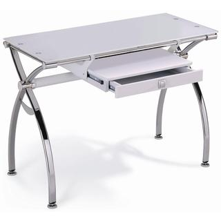 White Tempered Glass Desk with Chrome Legs