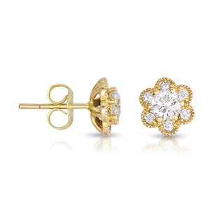 Eloquence 14k Yellow Gold 4/5ct TDW Diamond Stud Earrings