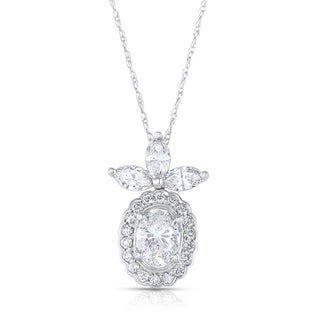 Eloquence 14k White Gold 1 3/4ct TDW Diamond Floral Necklace (H-I, I1-I2)