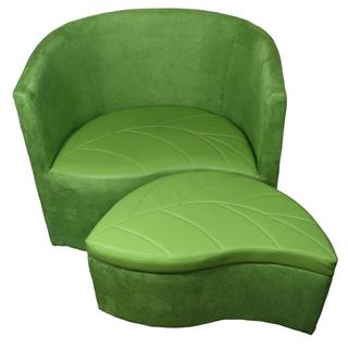 "29""H Green Suede Accent Chair w/ Storage Ottoman"