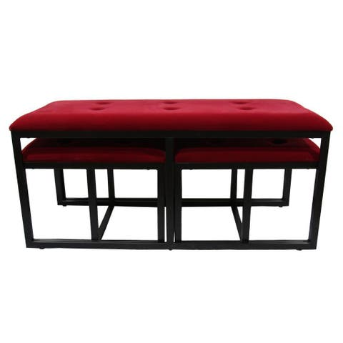 """20.5""""H Red Suede Tufted Metal Bench w/ 2 Seatings"""