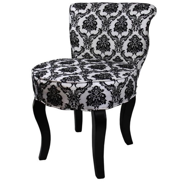 31 H French Black White Damask Accent Chair