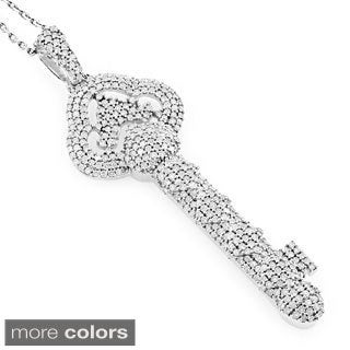 Luxurman 14k Gold 1 1/4ct TDW Pave Diamond Key Necklace (H-I, SI1-SI2)
