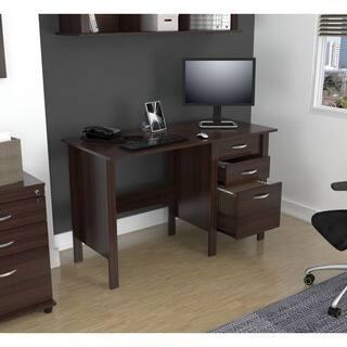 Furinno Jaya Simplistic Computer Study Desk With Bin Drawers Espresso