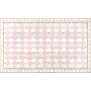 Hand-hooked Harlequin Pink Cotton Area Rug (4'7 x 7'7)