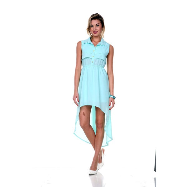 0bbc41596d1b1 Shop Stanzino Women s Sleeveless High-low Chiffon Shirt Dress - Free ...