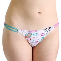 Prestige Biatta Heart Printed Microfiber Thong with Cutout Heart