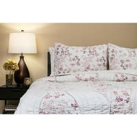 Handmade Willows Blush 100-percent Cotton Queen-size Quilt Set (India)