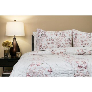Handmade Willows Blush 100-percent Cotton Queen-size Quilt Set (India) (2 options available)