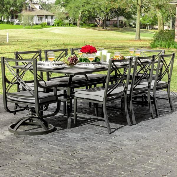audubon 8 person aluminum patio dining set with aluminum