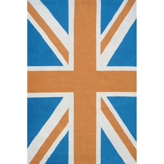Hand-hooked Union Jack Orange UV Polyester Area Rug (5' x 8')