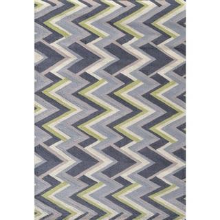 Hand-hooked Grey Vector Pp Acrylic Area Rug (5' x 7'6)