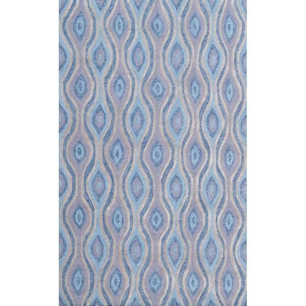 Hand-hooked Nazar Blue Pp Acrylic Area Rug (5' x 7'6)