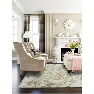 Hand-tufted Marble Gold All Twist Art.Silk Area Rug (5' x 8')