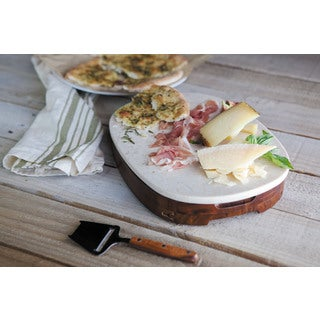 Carrara Marble-Top Cheese Board and Tools Set