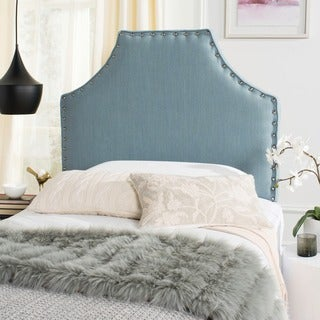 Safavieh Denham Sky Blue Linen Blend Upholstered Headboard - Silver Nailhead (Twin)