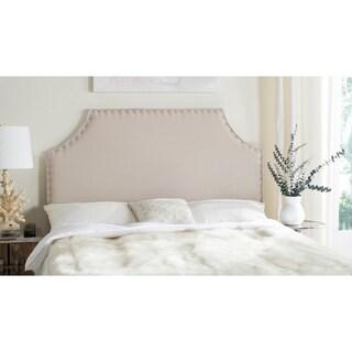 Safavieh Denham Taupe Linen Upholstered Headboard - Silver Nailhead (Queen)