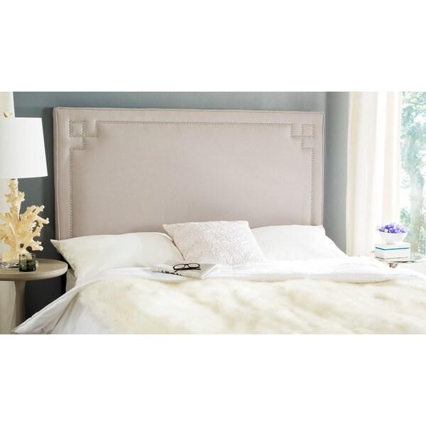 Safavieh Remington Taupe Linen Upholstered Greek Key Headboard (Full)