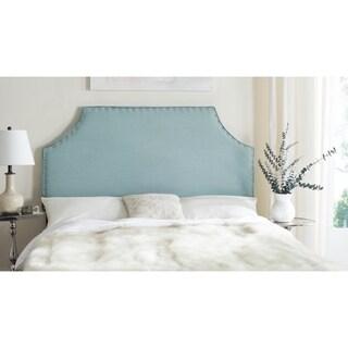 Safavieh Denham Sky Blue Linen Blend Upholstered Headboard - Silver Nailhead (Queen)