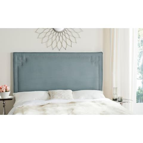 Safavieh Remington Sky Blue Linen Blend Upholstered Greek Key Headboard (Full)