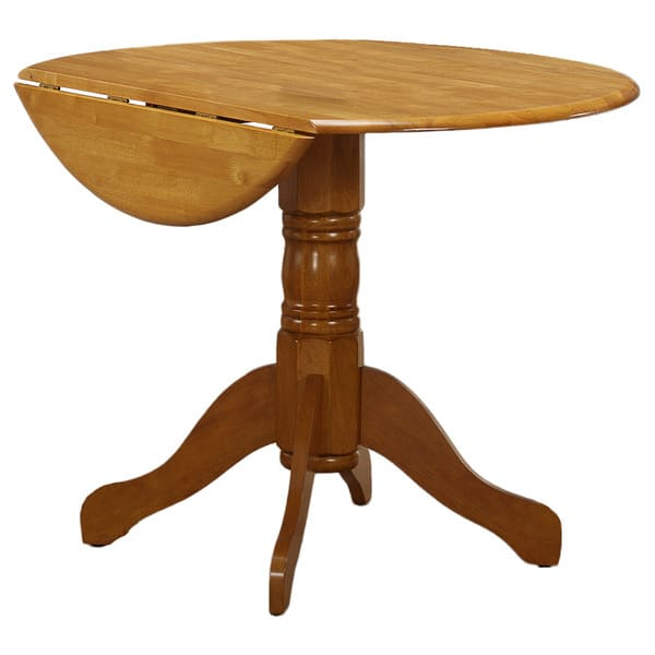 Chestnut Oak Round Drop Leaf Table