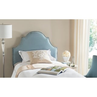 Safavieh Hallmar Wedgwood Blue Cotton Upholstered Arched Headboard - Silver Nailhead (Twin)