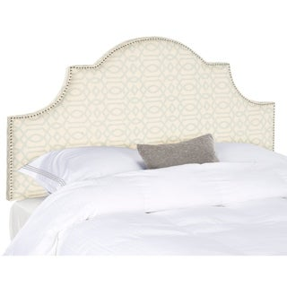 Safavieh Hallmar Silver/ Cream Moroccan Pattern Upholstered Arched Headboard - Silver Nailhead (King)