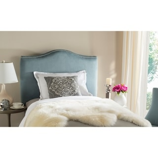 Safavieh Jeneve Blue Cotton Upholstered Headboard - Silver Nailhead (Twin)