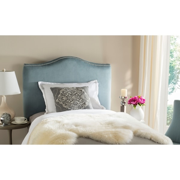 Safavieh Jeneve Blue Cotton Upholstered Headboard - Silver Nailhead (Twin)