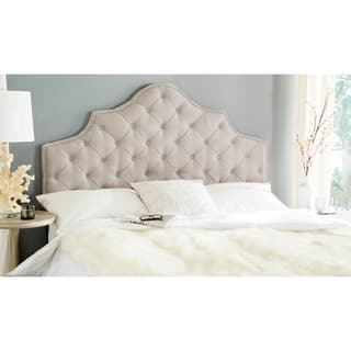 Safavieh Arebelle Taupe Linen Upholstered Tufted Headboard - Silver Nailhead (Full)|https://ak1.ostkcdn.com/images/products/9989362/P17139785.jpg?impolicy=medium