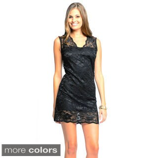 Sara Boo Women's Sleeveless V-neck Lace Dress
