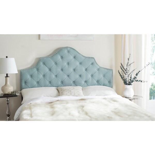 safavieh arebelle sky blue upholstered tufted headboard silver nailhead king - Tufted Bed Frame King