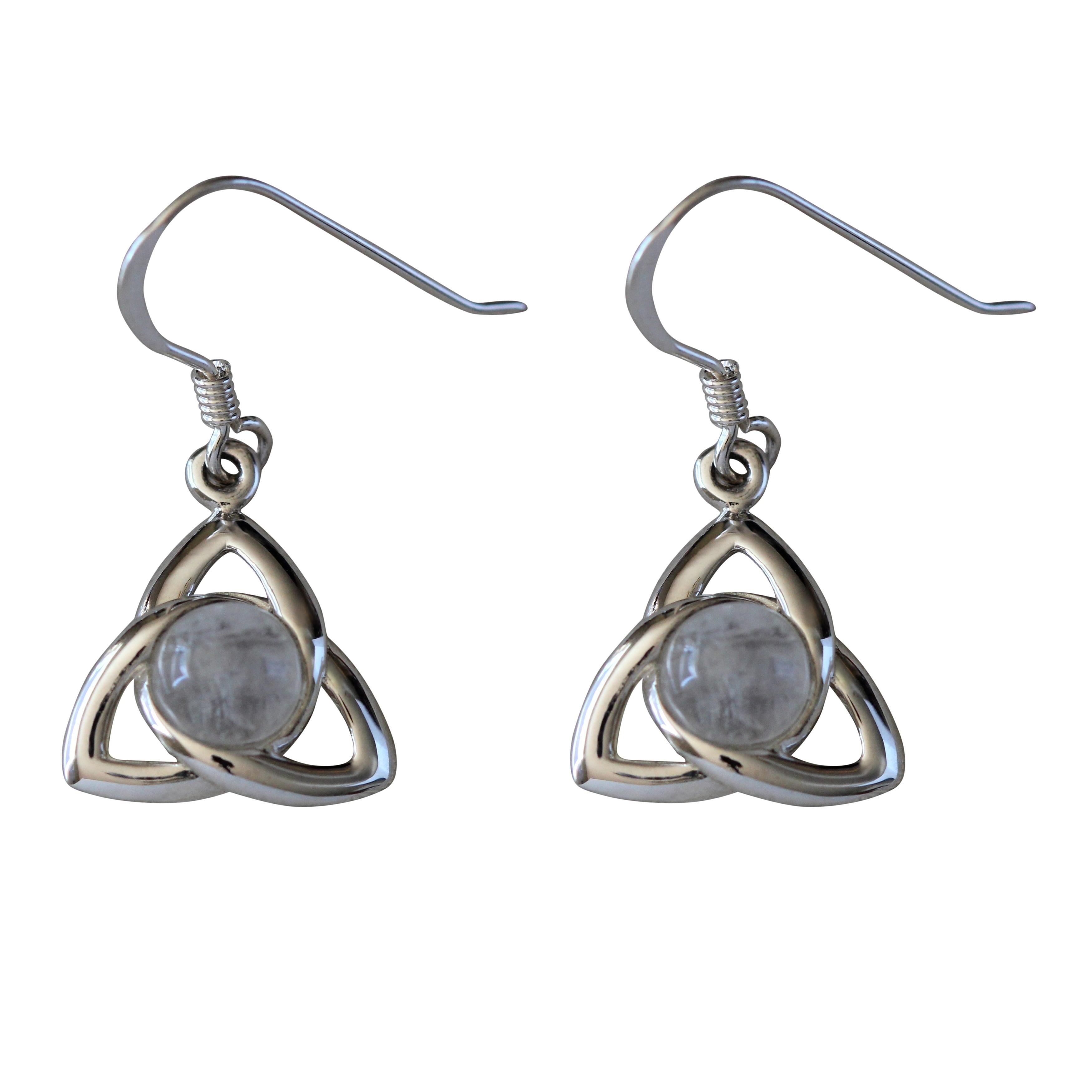 Sterling Silver Celtic Cabochon Moonstone Earrings (Thail...