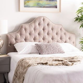 Safavieh Arebelle Taupe Linen Upholstered Tufted Headboard - Silver Nailhead (Queen)