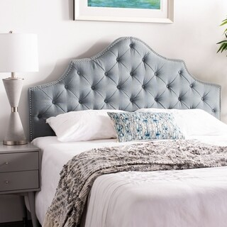 Safavieh Arebelle Sky Blue Upholstered Tufted Headboard - Silver Nailhead (Queen)