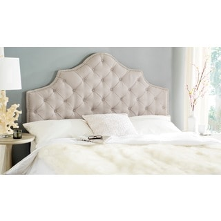 Safavieh Arebelle Taupe Linen Upholstered Tufted Headboard - Silver Nailhead (King) (As Is Item)