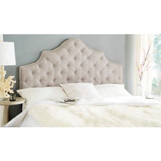 Silver Orchid Heston Taupe Linen Upholstered Tufted Headboard Nailhead King