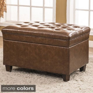 Classic Faux Leather Dark Tufted Storage Bench Ottoman