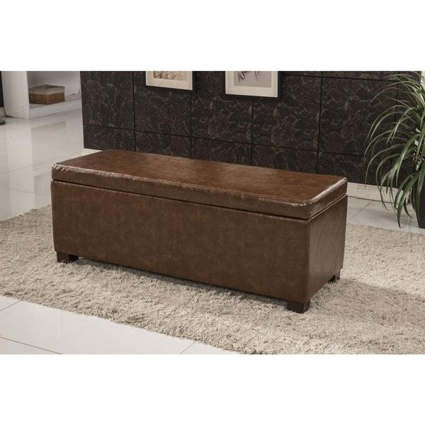 Shop Luxury Faux Leather Storage Bench Ottoman Free