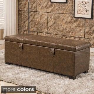 Luxury Comfort Classic Buckled Storage Bench Ottoman