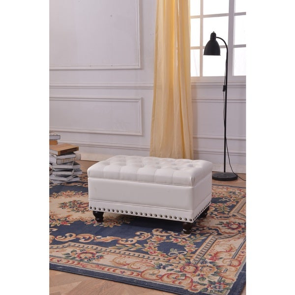 Luxury Comfort Collection Classic White Tufted Storage Bench Ottoman Free Shipping Today
