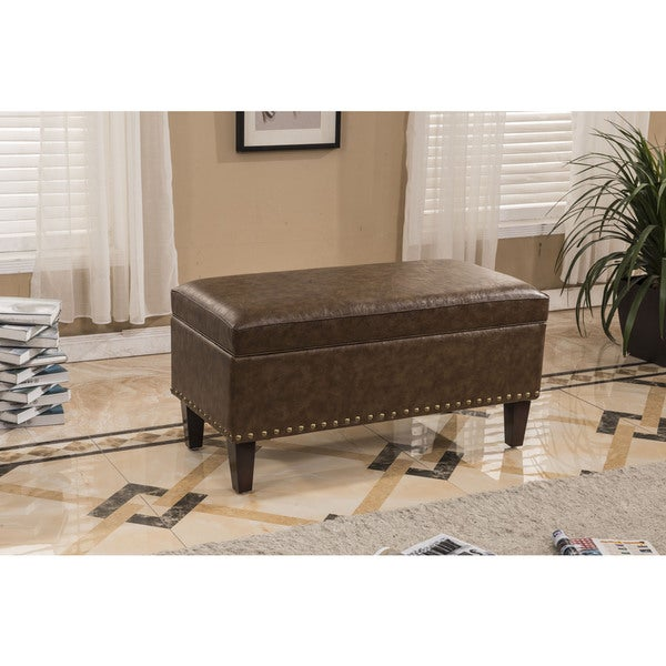 Traditional Faux Leather Storage Bench Ottoman - Traditional Faux Leather Storage Bench Ottoman - Free Shipping