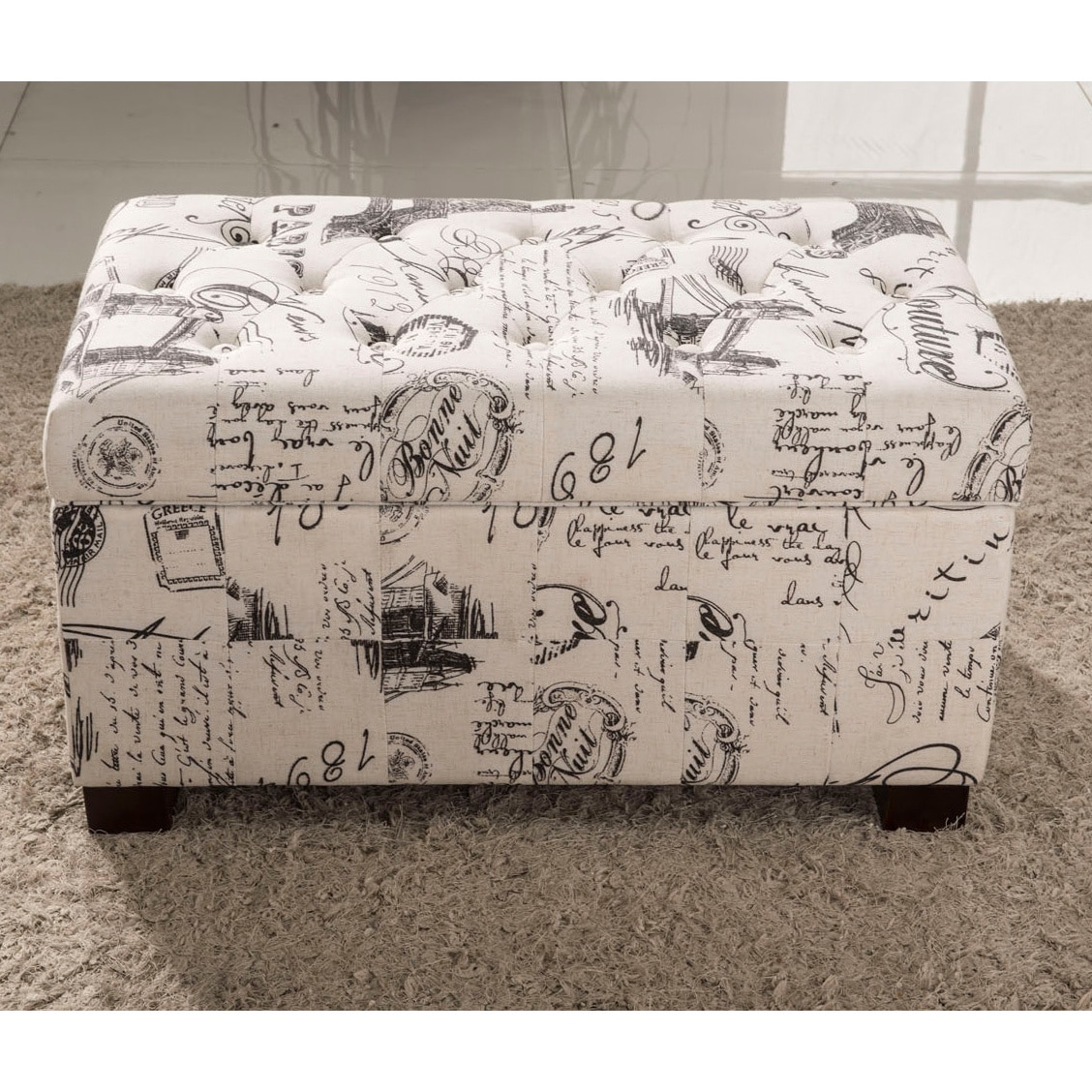 Traditional Paris Vintage French Writing Aqua Button Tufted Bench Storage Ottoman Overstock 9989448