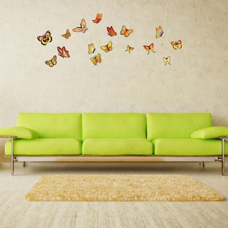 Orange Butterfly Set Vinyl Wall Decor