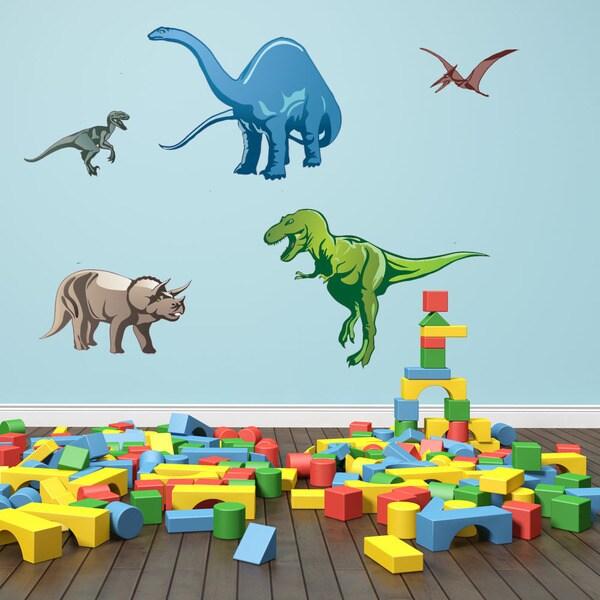 Colorful Dino Set Nursery Boys Wall Decal Sticker Deco Mural - Wall decals nursery boy