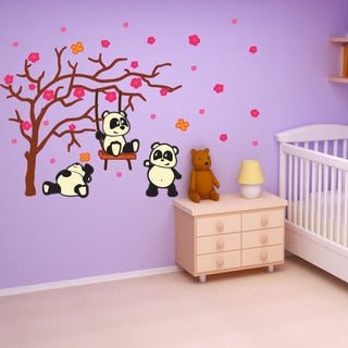 Colorful Panda Kids - nursery kids wall decal sticker, deco, mural, vinyl wall artfull color.