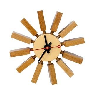 Mod Made Mid Century Modern Wall Spoke Wooden Clock