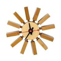 Mod Made Mid Century Modern Wall Spoke Wooden Clock