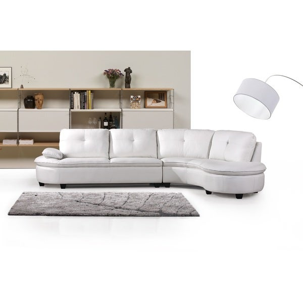 Cosmo Bonded Leather Right Facing Sectional Sofa Free