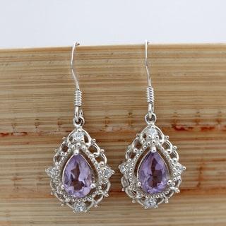 Sterling Silver Elegant Pear Drop Amethyst Earrings (Thailand)